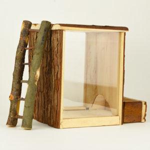 Tour de jeu et terrier en bois naturel pour hamsters