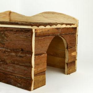 Maison Ineke en bois naturel lapin cochons dinde