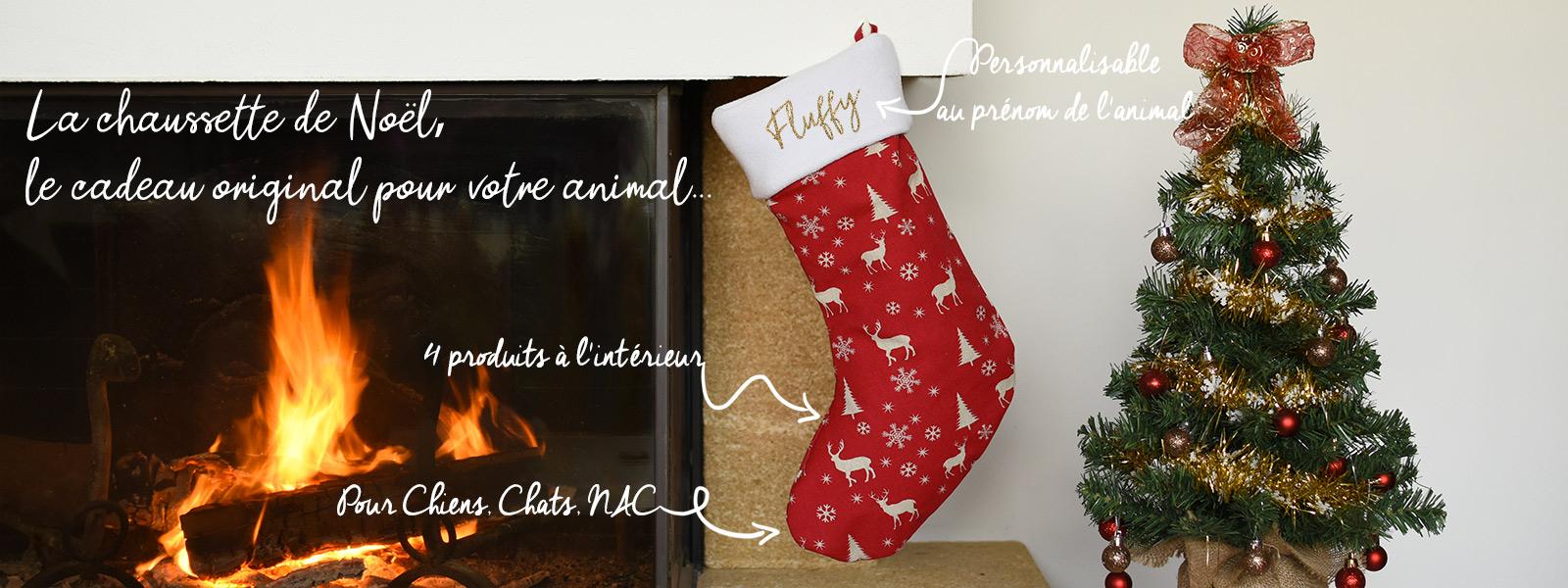 Chaussette de Noël remplie et personnalisable pour chien, chat, rongeur et lapin
