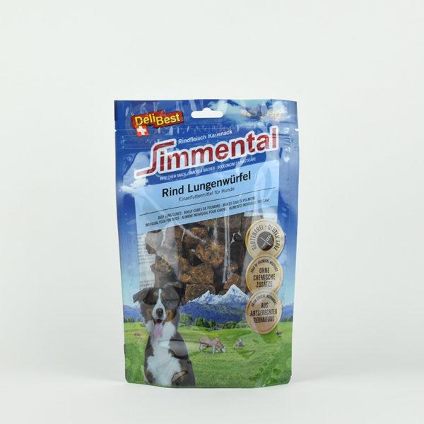 Friandises cubes de poumon de boeuf pour chien DeliBest