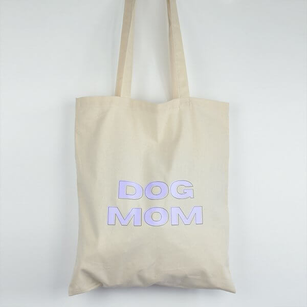 "Tote bag ""dog mom"" mauve"