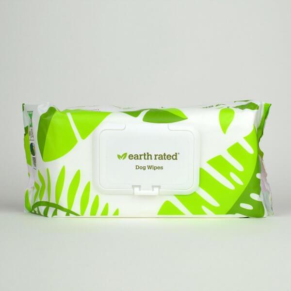 Lingettes nettoyantes compostables earth rated pour chien